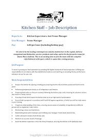 New Kitchen Staff Job Description For Resume Kitchen Staff