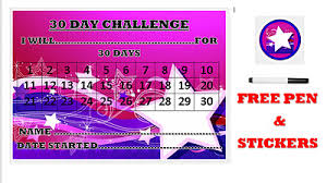 24 Day Challenge Chart 30 Day Challenge Chart A4 Laminated With Free Drywipe Pen