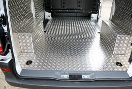 photo shows floor in aluminium with fully welded boxed arches and stylish cut side panels