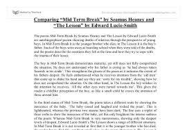 comparing mid term break by seamus heaney and the lesson by edward  document image preview
