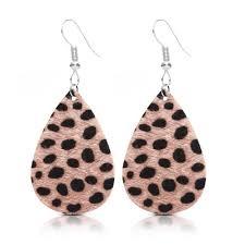 2019 leather earrings for women surface bohemian personalized handmade leather teardrop dangle earrings leopard print cutout fashion from aidangdlk