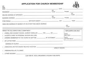 Application For Membership Application For Church Membership Acm 5 Application