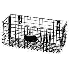 black metal wall basket at home