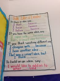 Accountable Talk 4th Grade Chart Accountable Talk Charts
