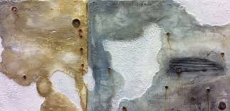 aged and distressed plaster wall designed as part of a feature wall to a bar