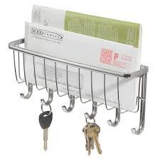 Amazon.com: InterDesign York Lyra Mail Holder and Key Rack Organizer - Wall  Mounted Letter Shelf and Key Hooks, Chrome: Home & Kitchen