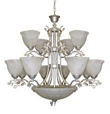 brass chandelier with alabaster white glass combined with solid brass ornamentation