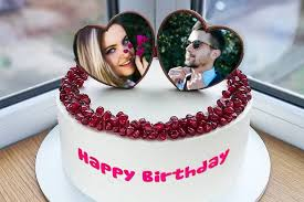 birthday cake with dual photo frame for