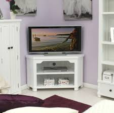 small white corner tv stand with two tiers shelves