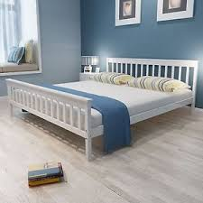 Super King Size White Bed Frame Classic Pine Wood Sturdy Slats ...