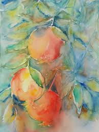 negative painting with watercolors pomegranate