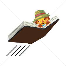 scarecrow on a flying book vector graphic