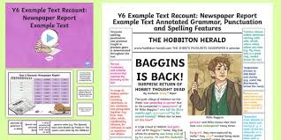 example of a newspaper article y6 recounts newspaper report example model text example
