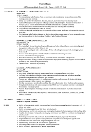 Training Specialist Resume Sales Training Specialist Resume Samples Velvet Jobs