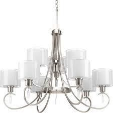 9 lt 2 tier brushed nickel chandelier