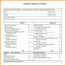 Financial Statement Worksheet Template Personal In E And Expense
