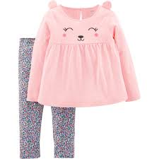 Carters Toddler Girls 2 Pc Bear Top And Floral Leggings