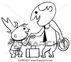 Uno Nero Bianco Versione Di Uno Cartone Animato Stile Disegno Di Uno Uomo Affari Augurio Uno Piccolo Bambino Disegni