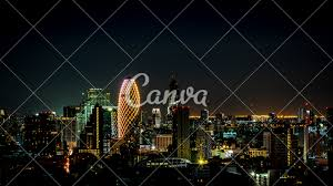 Sky Light Show Cityscape With Light Show From Building Of Bangkok Photos