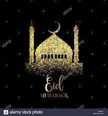 Eid Mubarak Hintergrund mit gold glitzer Effekt Stockfotografie - Alamy