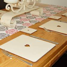 set of four or six wooden heart placemats
