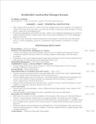 Residential Construction Manager Resume Templates At