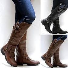 New Women FLiv Brown Black Quilted Riding Knee High Biker Boots ... & New-Women-FLiv-Brown-Black-Quilted-Riding-Knee- Adamdwight.com