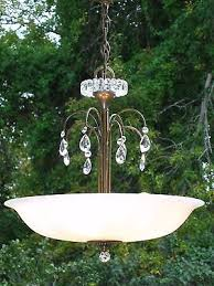 clean vintage hanging pink satin glass 4 light chandelier waterfall prisms