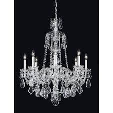 schonbek hamilton silver eight light clear heritage handcut crystal chandelier 28w x 35h x 28d