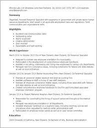 Personnel Specialist Job Description Initial Resume Template Professional Personnel Specialist Templates