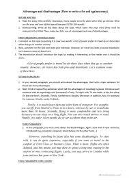 for and against essay worksheet esl printable worksheets full screen