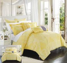 chic home 8 piece sicily oversized overfilled comforter set queen yellow