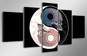 image is loading skulls yin yang symbol religious 5 piece canvas  on yin yang canvas wall art with skulls yin yang symbol religious 5 piece canvas framed print wall