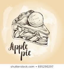 apple pie slice drawing. Interesting Pie Piece Of Apple Pie With Scoop Ice Cream Food Elements Vector Ink Hand With Apple Pie Slice Drawing E