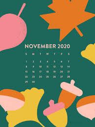 November 2020 Fall Leaf Calendar ...