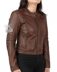 womens collarless brown leather jacket christie front