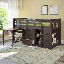 com corliving bmg 370 b madison loft bed with desk and storage single twin rich espresso kitchen dining