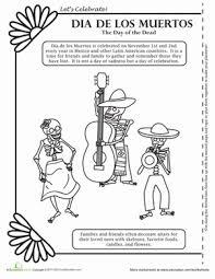 Small Picture Dia de los Muertos Coloring Worksheet Educationcom