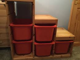 details about ikea trofast stepped wooden toy storage unit with storage boxes