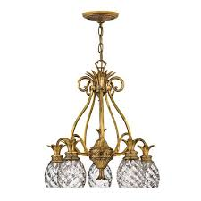 plantation burnished brass five light chandelier
