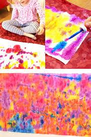 kids craft ideas drip painted paper towel flowers