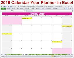 Yearly Calendar Planner Template 2019 Year Calendar Template Excel Bedandbreakfastitalia Info