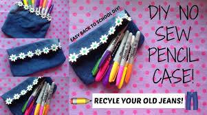 diy no sew jeans pencil case pouch no zipper back to school diys 2016 you