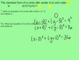the standard form of a circle with center h k and radius r