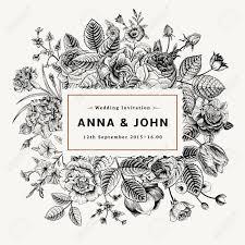 夏の花のヴィンテージ エレガントな結婚式招待状黒と白のベクトル イラスト