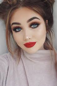 red lips and eyes