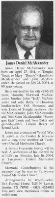 Obituary for James Daniel McAlexander, 1914-2004 (Aged 90 ...
