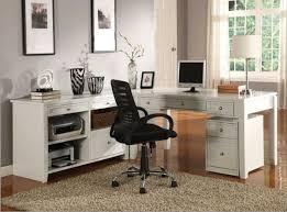 modular home office furniture collections with white color finish combined with black chair on brown rugs brown finish home office