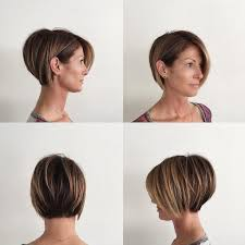 Womens Stacked Layered Bob With Long Side Swept Bangs And Brunette