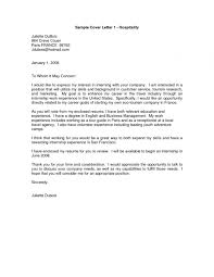 Sample Cover Letters For Hospitality Industry Korest For Cover